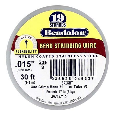 Stringing Wire 19-Strand .015-Inch (.38-Millimeter) Diameter 30-Feet/Pkg, Bright, Stated size is Small By Beadalon