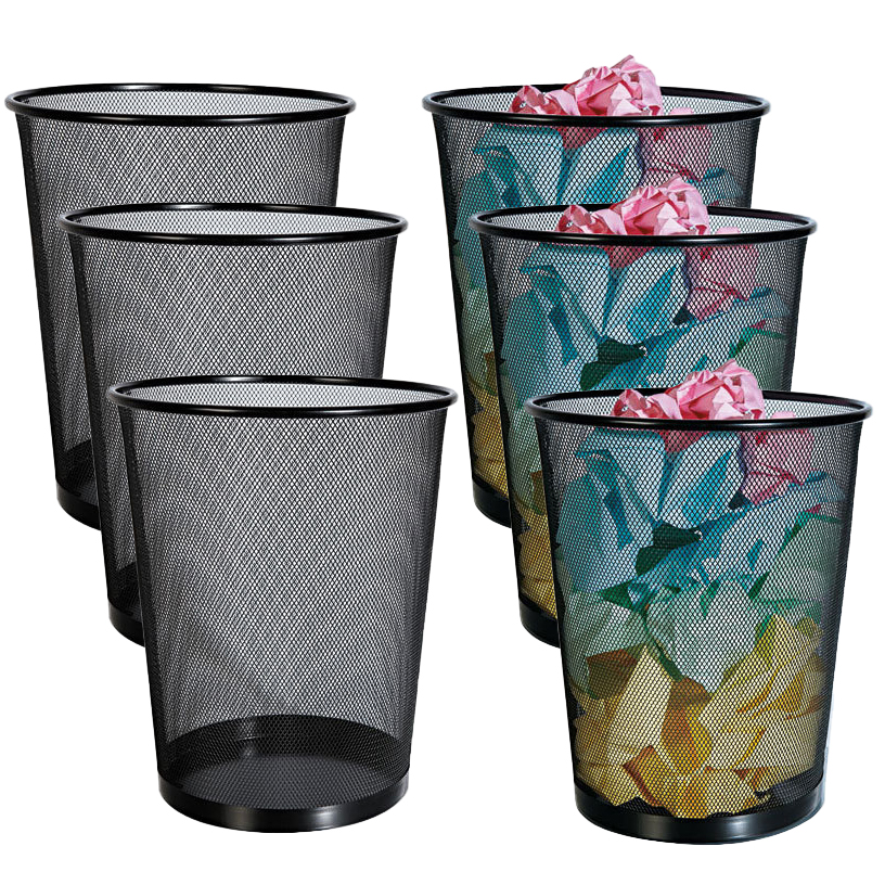 Rolodex (6 Pack) Small Trash Can Metal Wastebaskets Wire Mesh Waste Basket Set For Kitchen Office Bedroom Bathroom