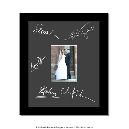 CreativePF [signatureframe] Signature Frame - Photo Frame with Mat Holds 2x3-inch Media including Easel Stand with Installed Wall Hangers