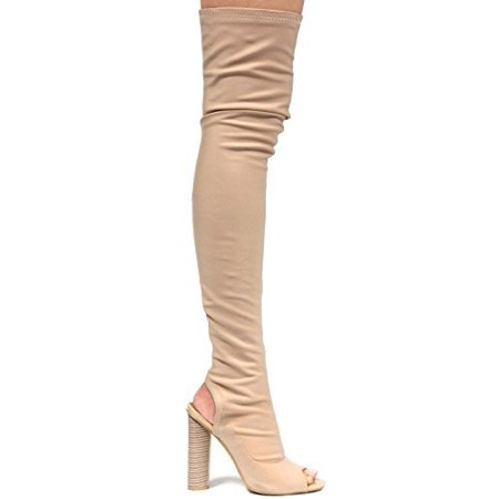 Cape Robbin Connie-11 Stretchy Over Knee Thigh High Open Peep Toe Block Heel Pull On Boot NudeNude 7.5