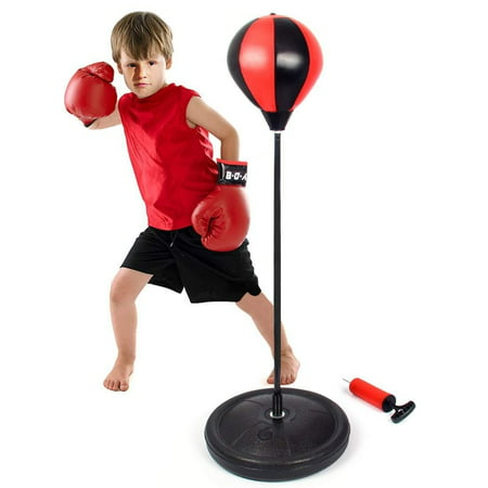 Punching bag with Boxing Gloves Speed Ball Adjustable Boxing Set with 1 Pair Gloves and Hand Air Pump for Anti-Stress Fitness for Kids ()