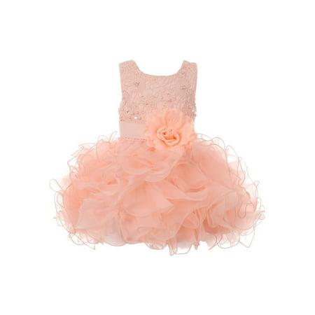 Patch Girl Dress (Baby Girls Peach Lace Sequin Multi Layer Ruffle Flower Girl Dress)