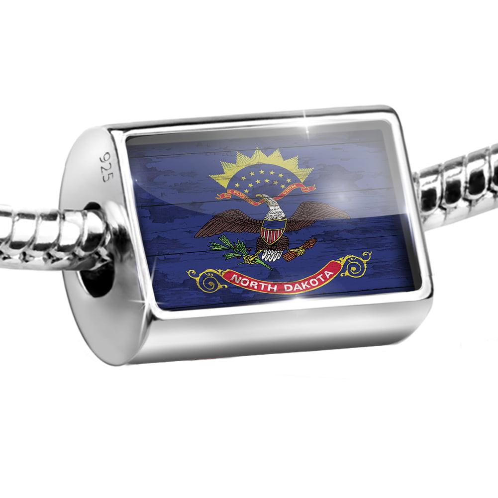 Sterling Silver Bead Flag on Wood North Dakota region: America (USA) Charm Fits All European Bracelets