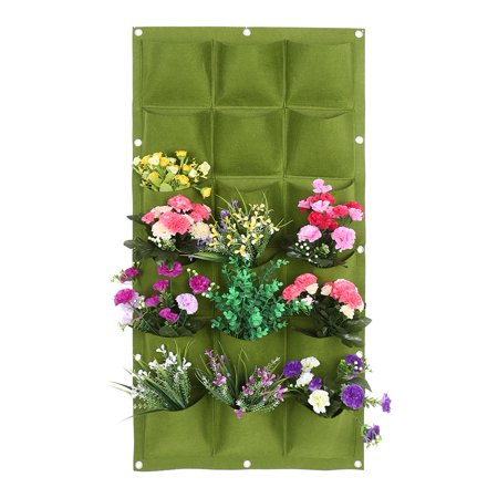 Garden Grow Bag Plant 18 Pockets Garden Balcony Wall Vertical Flower Plants Growing