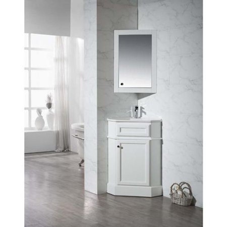 Stufurhome Hampton White 26 5 Inch Corner Bathroom Vanity With Medicine Cabin