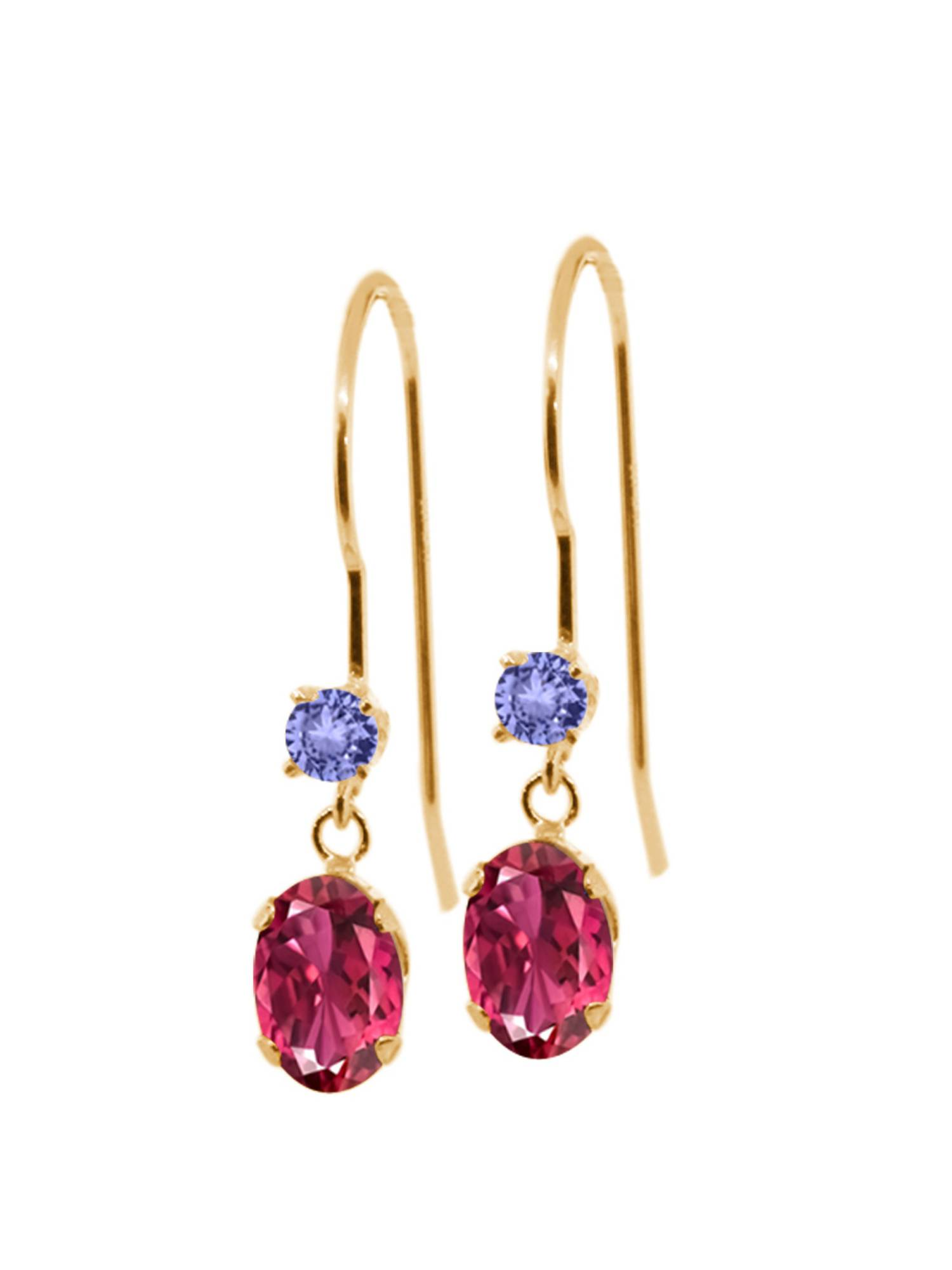 1.16 Ct Oval Pink Tourmaline Blue Tanzanite 14K Yellow Gold Earrings by