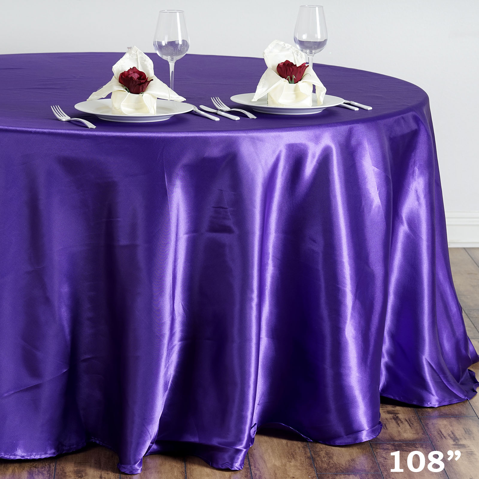 """Efavormart 108"""" Round Satin Tablecloth for Kitchen Dining Catering Wedding Birthday Party Decorations Events"""