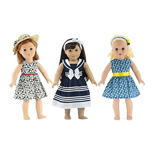 18-inch Doll Clothes | Value Bundle - Set of 3 Doll Dresses, Including Black and White Floral Dress with Hat, Nautical Dress with Headband, and Floral Dress with Headband | Fits American Girl Dolls