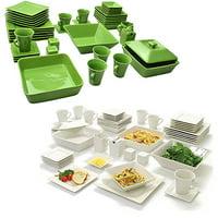 10 Strawberry Street Nova Square Banquet 90-Piece Mix and Match Dinnerware Set