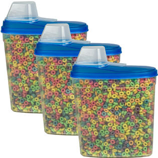 3 Pack Large Cereal Keeper Food Storage Plastic Container 23.75 Cup BPA Free Kitchen Baking Canister