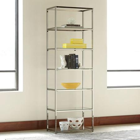 Coaster 801017 Home Furnishings Bookcase, Black Nickel Satin Nickel Bookshelf