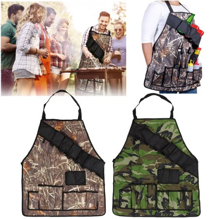Como Kitchen - BBQ Barbecue Grill Beer Can Opener Belt Kitchen Cooking Outdoor Camouflage Apron