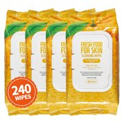 Refreshing Body Hand Face Wipes Cleansing Cloth | Alcohol-Free Wipes | Hypoallergenic (Orange/240 Wipes)