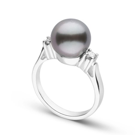 Bella Collection Tahitian Pearl and Diamond Ring in Sterling Silver