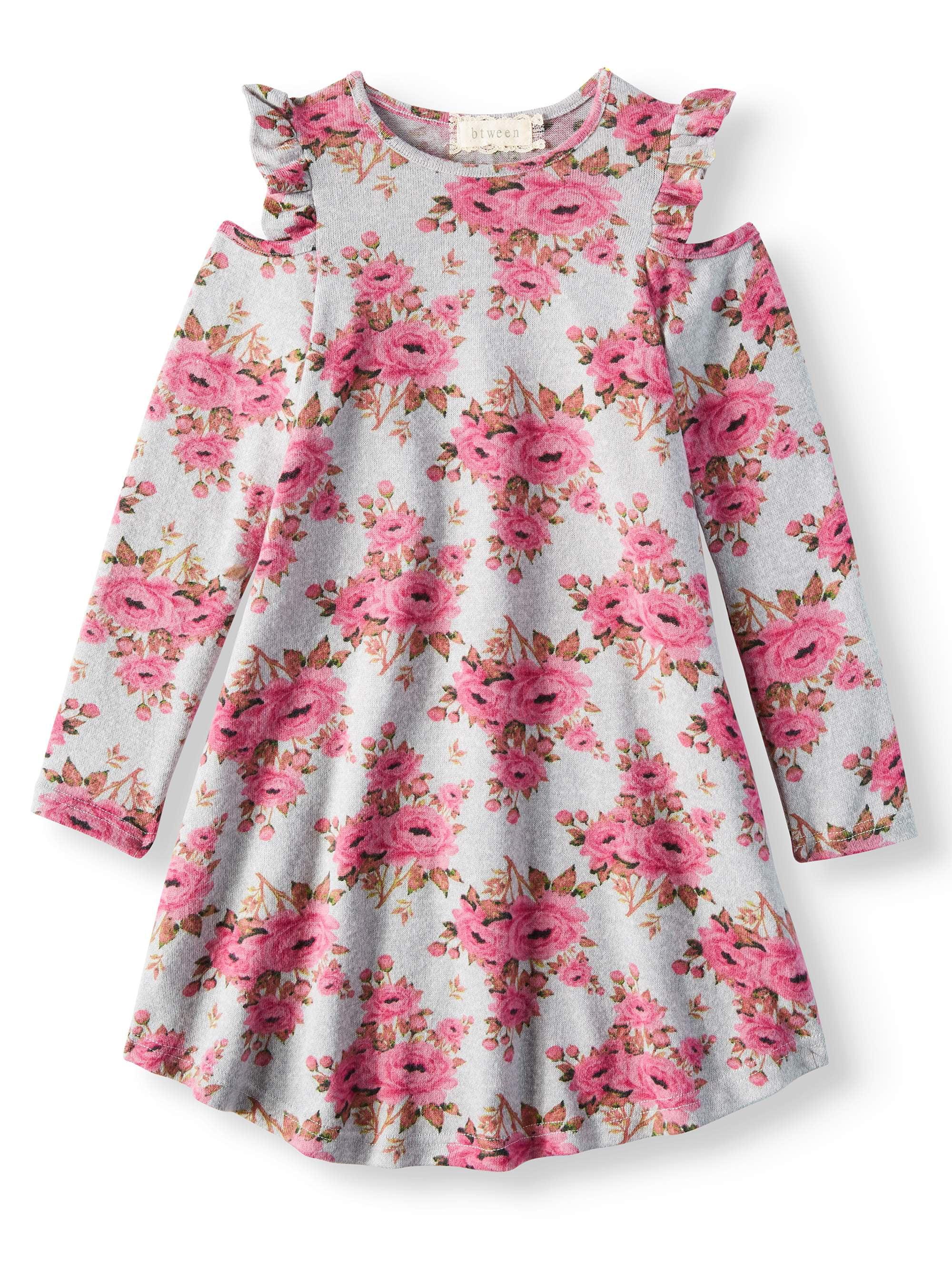 Floral Cold Shoulder Sweater Knit Dress