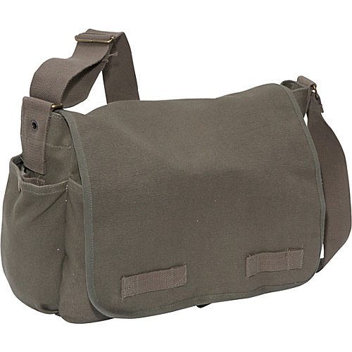 Heavy Weight Canvas Vintage Styled Messenger Bag, Olive Drab
