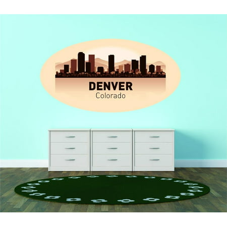 Custom City Wall Map - Custom Wall Decal Denver Colorado United States Major City Geographical Map Landmark - Vinyl Wall - 16x30