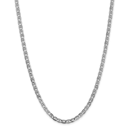 14k White Gold 20in 4.4mm Concave Anchor Chain Necklace by Jewelrypot