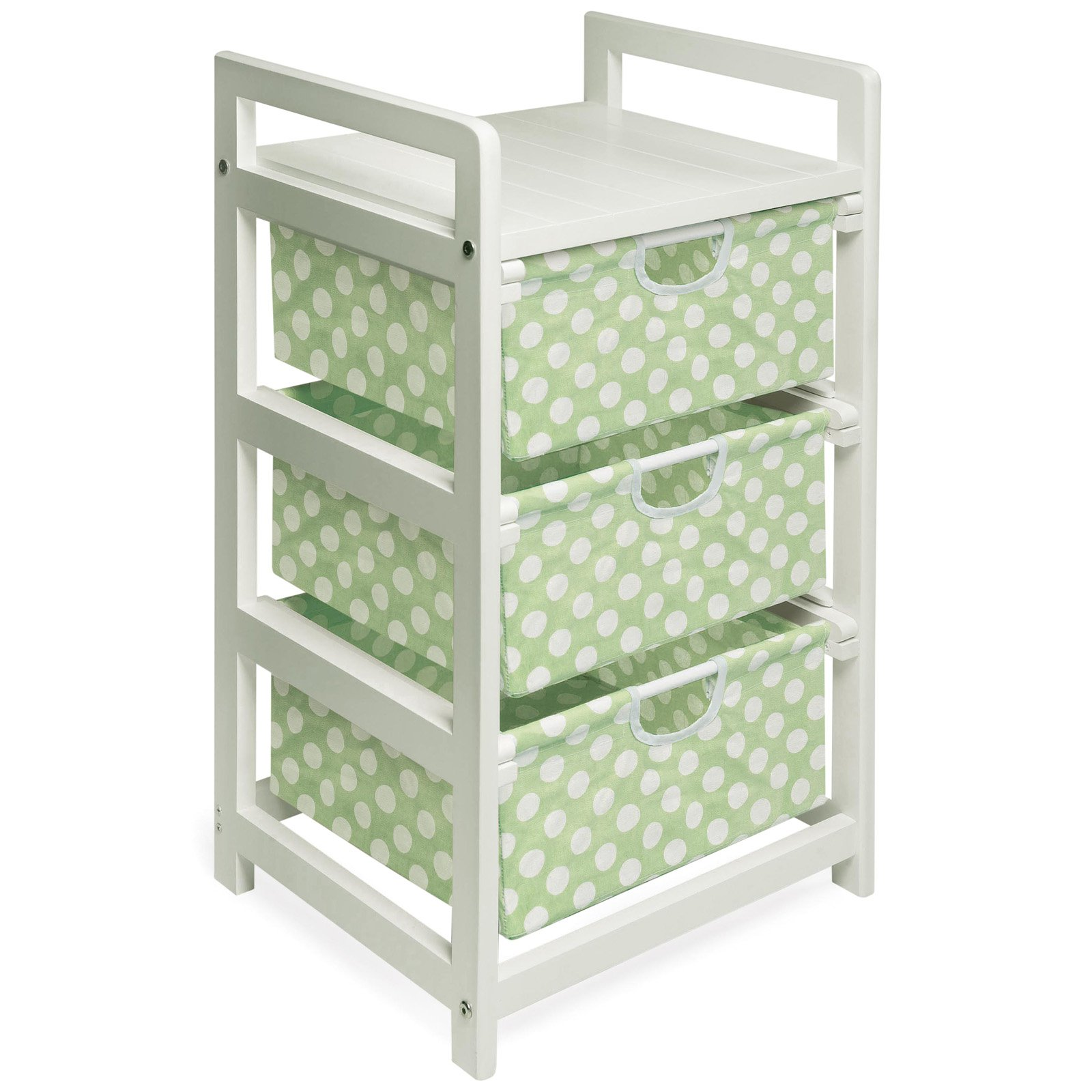 Incroyable Badger Basket White 3 Drawer Hamper/Storage Unit, Sage Polka Dots
