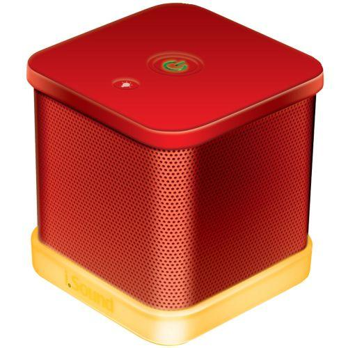 ISOUND ISOUND-6208 IGLOWSOUND CUBE WIRED PORTABLE SPEAKER (RED)