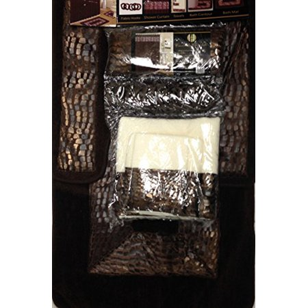 Crocodile chocolate brown 18 piece bathroom set 2 rugs mats 1 fabric shower curtain 12 fabric for Chocolate brown bathroom rugs