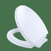 TOTO SoftCloseNon Slamming, Slow Close Round Toilet Seat and Lid,Cotton White - SS113#01