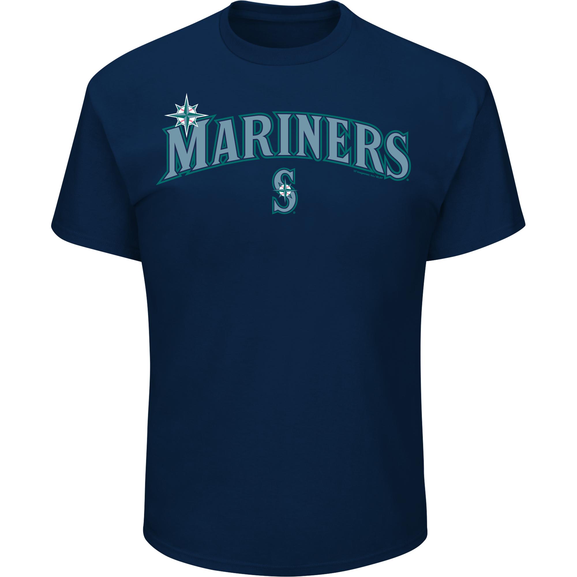 Men's Majestic Navy Seattle Mariners Bigger Series Sweep T-Shirt