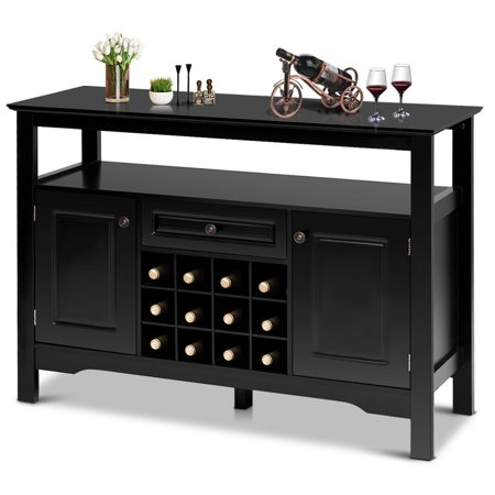 Gymax Storage Buffet Sever Cabinet Sideboard Table Wood Wine Rack Buffet Table Wine Rack