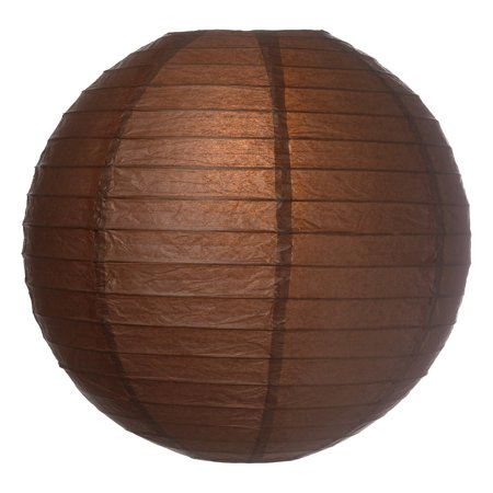 Premium Paper Lantern, Clip-On Lamp Shade (16-Inch, Parallel Ribbed, Chocolate Brown) - Chinese/Japanese Hanging Decoration - For Parties, Weddings, and Homes Chocolate Brown Pink Wedding