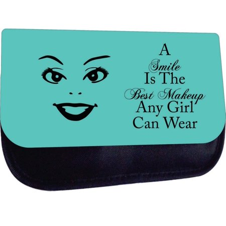 A Smile is the Best Makeup Any Girl Can Wear-Green - Black Medium Sized Cosmetic Case - Makeup Bag - Nylon Lined - with 2 Zippered