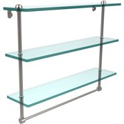 """22"""" Triple Tiered Glass Shelf with Integrated Towel Bar (Build to Order)"""