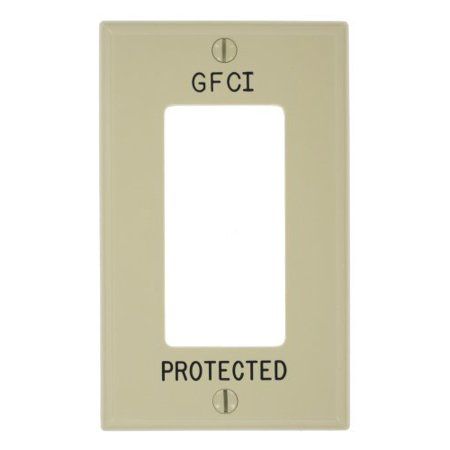Leviton 80401-GFI Ivory Engraved 'GFCI Protected' Single Gang Decora Wall (Engraved Wall Plate)