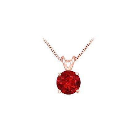 Fine Jewelry Vault UBPD14P4RD075R 14K Rose Gold Prong Set Natural Ruby Solitaire Pendant 0. 75 CT TGW
