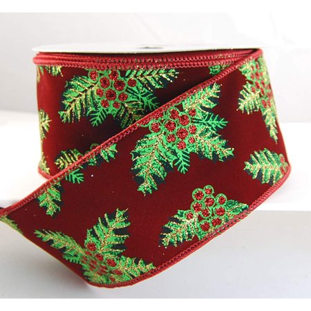 Wire Edged Vel Holly Burgundy Velvet with Red, Gold and Green Glitter Holly Leaves and Beries Christmas Ribbon 2 1/2