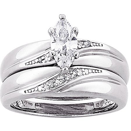 13 carat tgw marquise cz and diamond accent wedding ring set in sterling silver - Walmart Wedding Ring