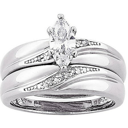 13 carat tgw marquise cz and diamond accent wedding ring set in sterling silver - Walmart Wedding Ring Sets