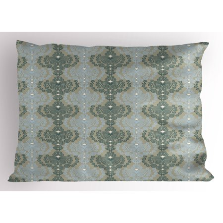King Wallpaper - Floral Pillow Sham Abstract Art Damask Desgin Floral Ornament Background Wallpaper Pattern Print, Decorative Standard King Size Printed Pillowcase, 36 X 20 Inches, Blue and Taupe, by Ambesonne