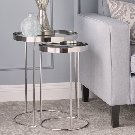 Noble House Madrid Mirror Finished Nested Tables, Set of 2 ()