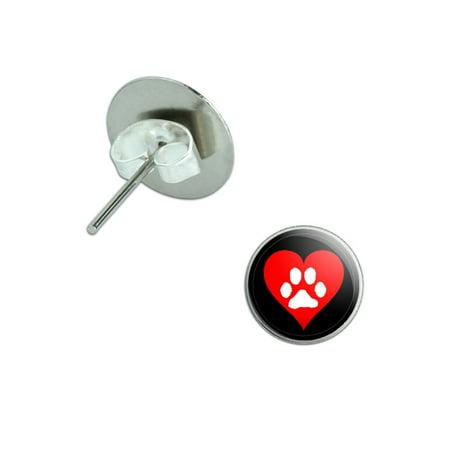 Paw Print Heart - Dog Cat Love Pierced Stud Earrings