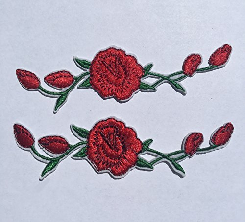 "[1 Pair] Simple Valley Custom and Unique (1 1/8"" by 4 3/4"" Inches) Blooming Roses on Vine Iron On Embroidered Applique Patch (Red and Green)"