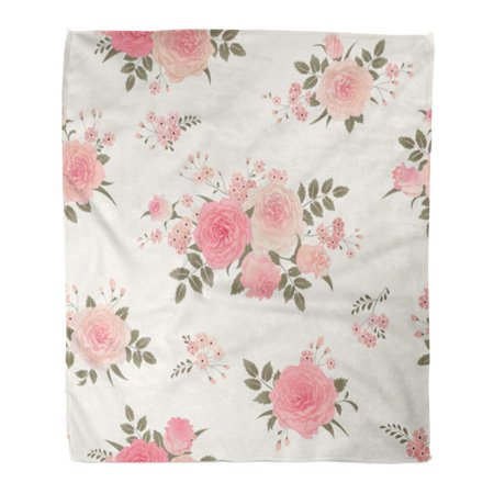 KDAGR Throw Blanket Warm Cozy Print Flannel Pink Flower Floral Bouquets of Roses Vintage for Shabby Chic Pattern Green Comfortable Soft for Bed Sofa and Couch 50x60 Inches ()