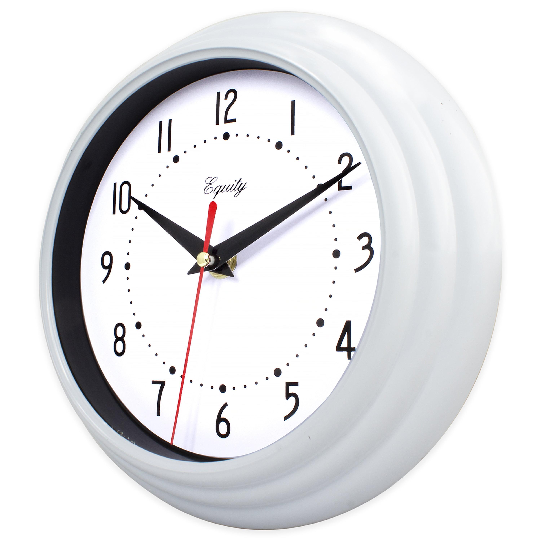 "Black And White Wall Clock equityla crosse 8"" white analog wall clock - walmart"