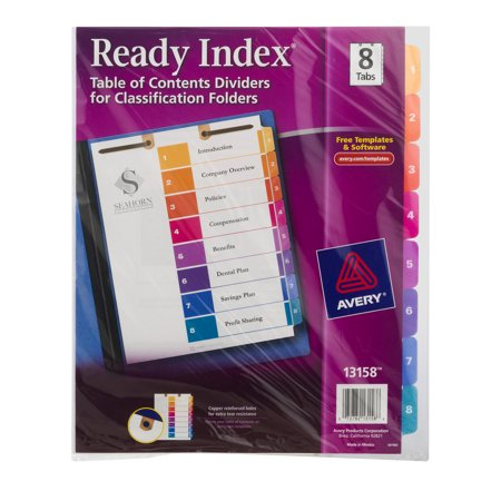 Avery 8 Tab Ready Index Table Of Contents Dividers For