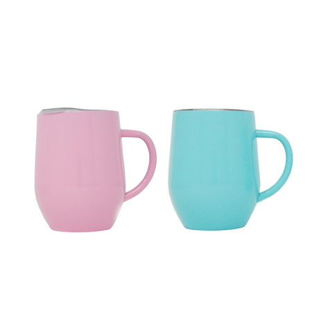 2 Pack Ezprogear 12 oz Wine Tumbler Coffee Mug Cup Stainless Steel Double Wall Vacuum Insulated with Handle & Slider Lid (Pink/Aqua) 12 Oz Hi Ball Tumbler