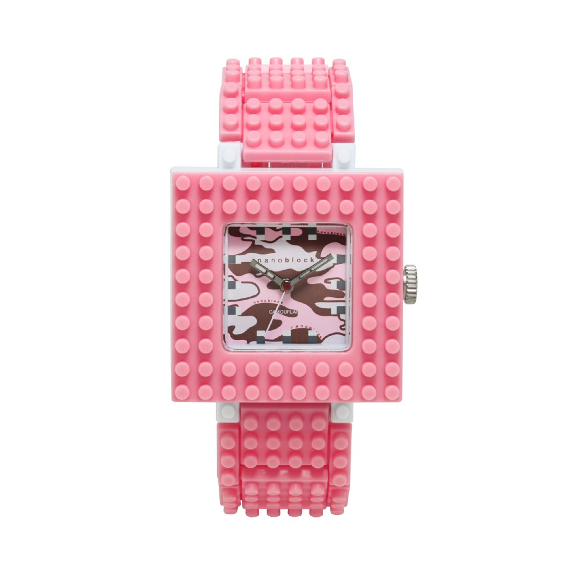Nanoblocktime Nano Camo Squared Watch, Pink Camo by Nanoblocktime