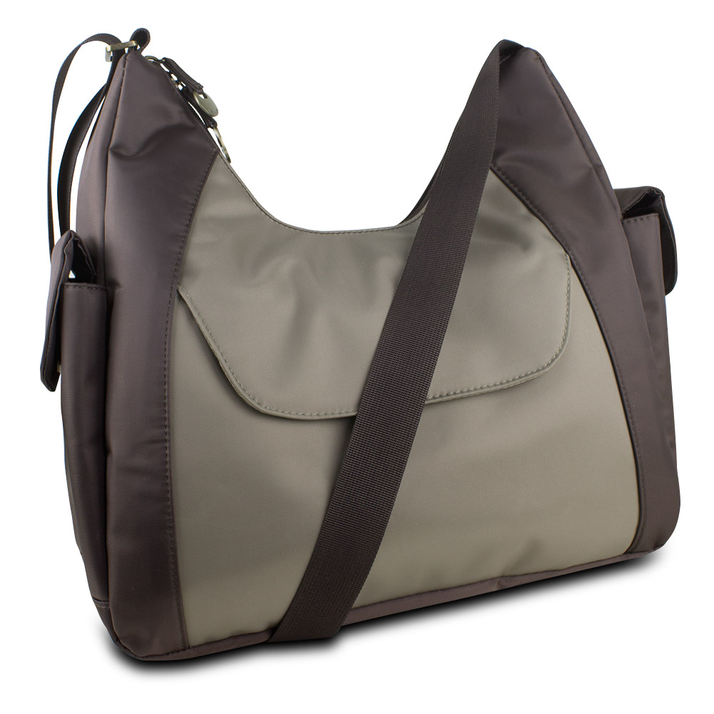 Travelon Hack-Proof Oversized Everyday Hobo Bag w/ RFID Protection (Brown/Taupe)