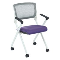 Office Star Products Folding Chair with Flex Back and Fabric Mesh Seat (Set of 2)