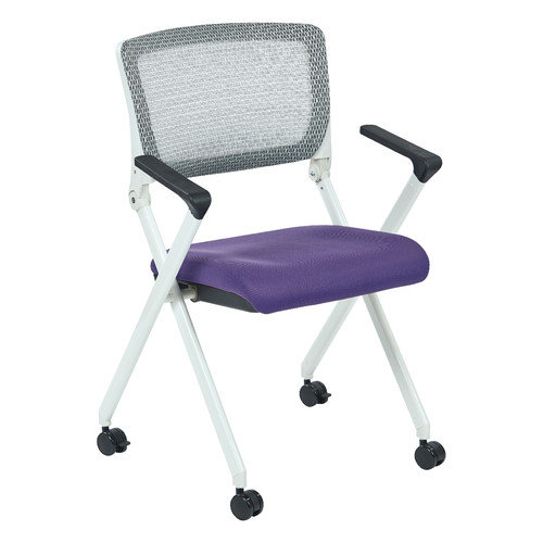Folding Chair With Breathable Mesh Back and Fabric Mesh Seat in White Finish Frame-Color:Olive