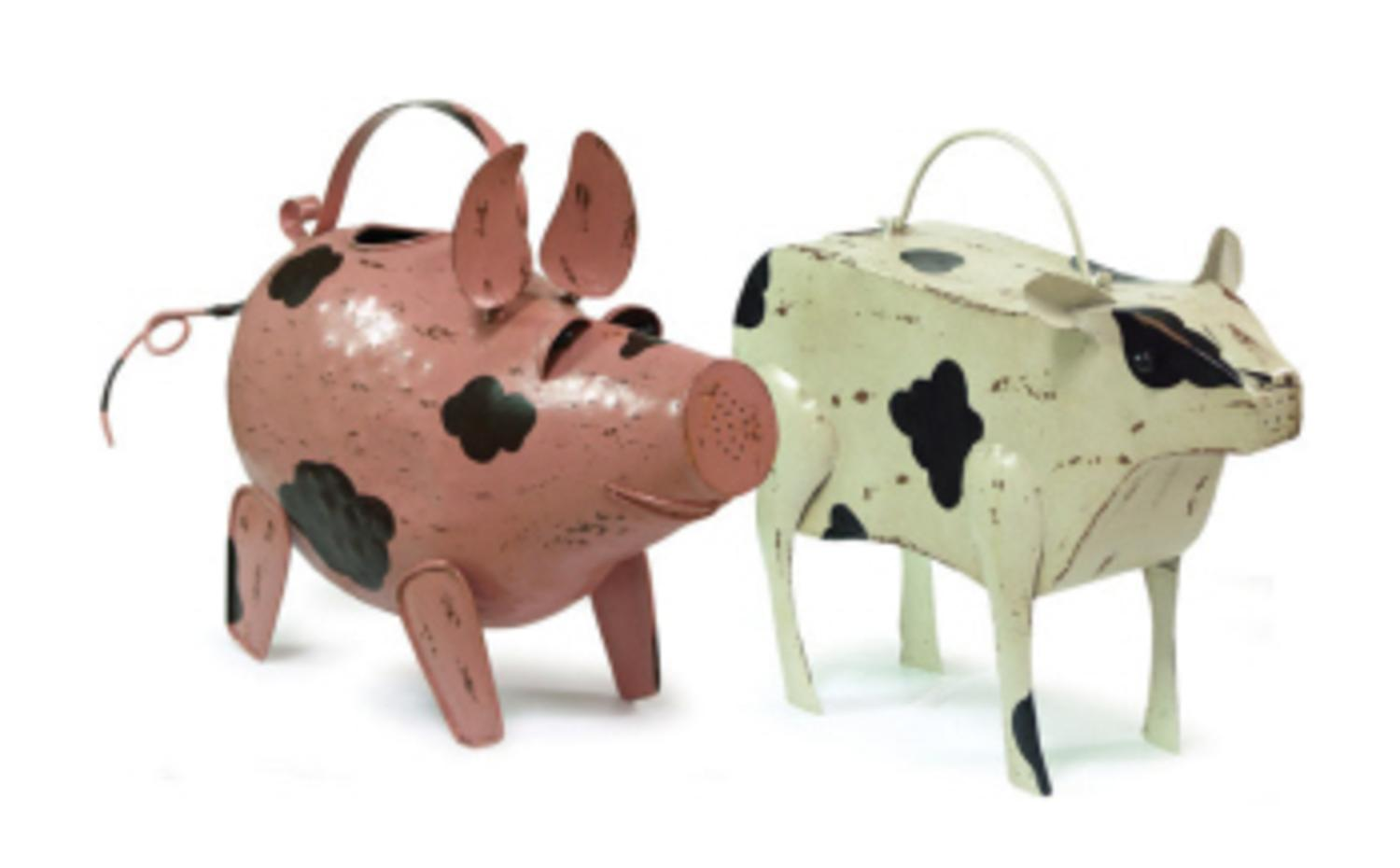 "Set of 2 Pig and Cow Decorative Metal Gardening Outdoor Watering Cans 14.5"" by CC Home Furnishings"