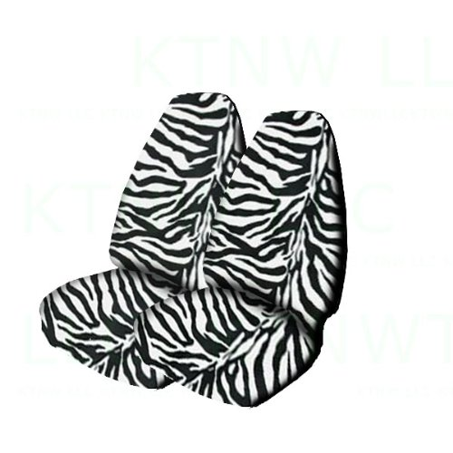 A Delux Animal Seat Cover Set with 2 Unird Key Chain - Zebra White - Zebra White